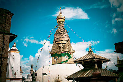Swayambhunath Stupa In Nepal Art Print by Raimond Klavins