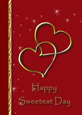 Digital Art - Sweetest Day Gold Heart by Jeanette K