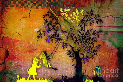 Outdoors Mixed Media - Swinging On A Tree by Marvin Blaine