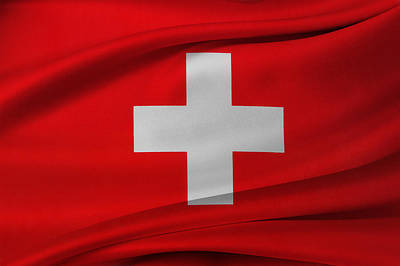 Waving Flag Photograph - Swiss Flag by Les Cunliffe