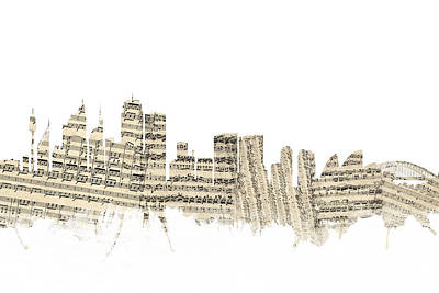 Sydney Skyline Digital Art - Sydney Australia Skyline Sheet Music Cityscape by Michael Tompsett