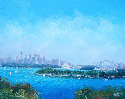 Australian Holiday Painting - Sydney Harbour And The Opera House Cityscape View by Jan Matson