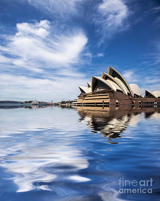 Icon Australia Blue White Reflection Photograph - Sydney Opera House Abstract by Avalon Fine Art Photography