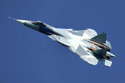 T-50 Photograph - T-50 Pak-fa 051 Blue Fifth Generation by Artyom Anikeev