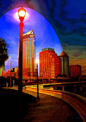 Long Street Digital Art - Dusk Over Tampa by David Lee Thompson