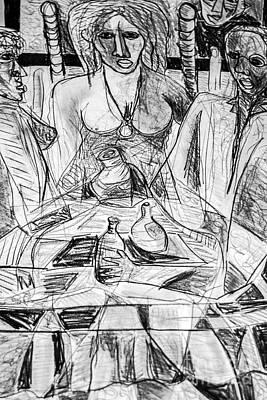 Robert Daniels Drawing - Table Talk by Robert Daniels