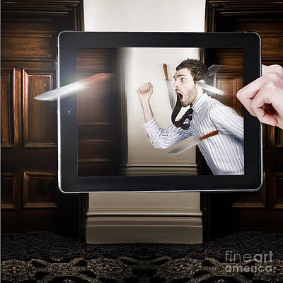 Tablet Display Playing Funny Interactive Movie Art Print