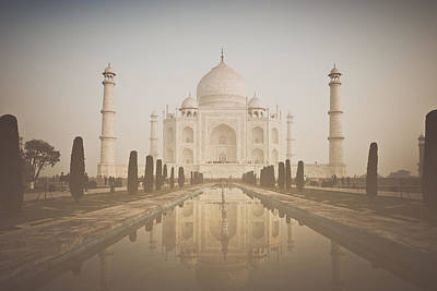 Roaring Red - Taj Mahal in Agra India in Retro Instagram Style by Brandon Bourdages