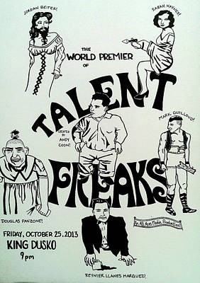 Sideshow Drawing - Talent Freaks Promotion Poster by Jordan Beiter