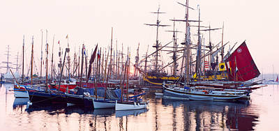 Tall Ship In Douarnenez Harbor Art Print by Panoramic Images