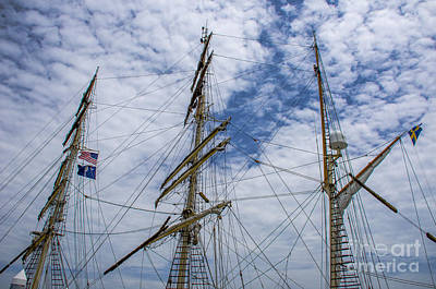 Tall Ship Three Mast  Art Print by Dale Powell