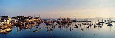Tall Ships At A Harbor At Sunrise Art Print