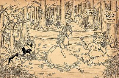 Art Print featuring the drawing Tammy And The Baby Hoargg by Reynold Jay
