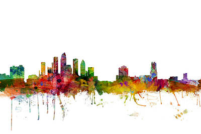 Tampa Digital Art - Tampa Florida Skyline by Michael Tompsett