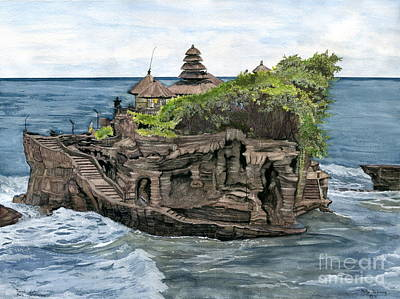 Painting - Tanah Lot Temple Bali Indonesia by Melly Terpening