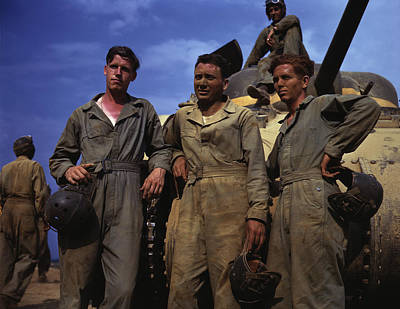 Tank Crew Standing In Front Of An M4 Art Print