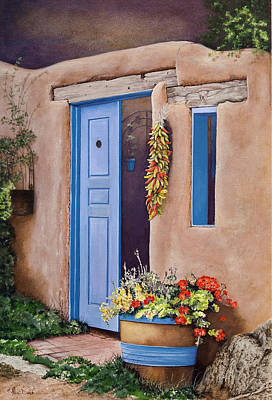 Painting - Taos New Mexico Barrel Of Red Geraniums by Mary Dove