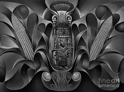 Maya Painting - Tapestry Of Gods - Chicomecoatl by Ricardo Chavez-Mendez