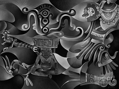 Tapestry Of Gods - Huehueteotl Art Print by Ricardo Chavez-Mendez