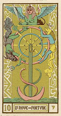 Tarot Drawing - Tarot Card 10 - La Roue De Fortune (the by Mary Evans Picture Library
