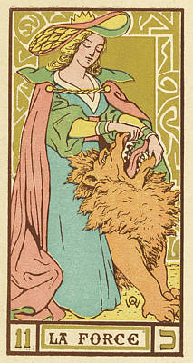 Tarot Drawing - Tarot Card 11 - La Force (strength) by Mary Evans Picture Library