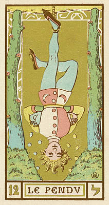 Tarot Drawing - Tarot Card 12 - Le Pendu (the Hanged by Mary Evans Picture Library
