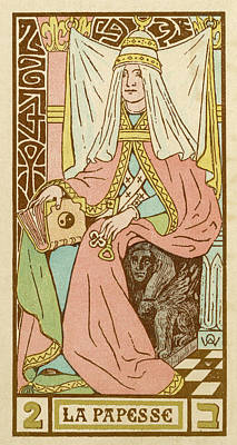 Tarot Drawing - Tarot Card 2 - La Papesse (the Female by Mary Evans Picture Library