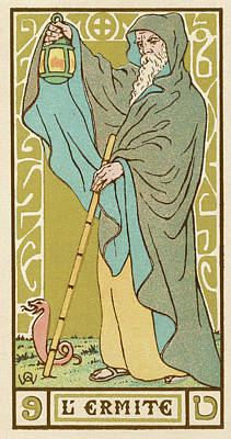 Tarot Drawing - Tarot Card 9 - L'ermite (the Hermit) by Mary Evans Picture Library