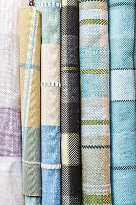 Throw Blanket Photograph - Tartan Fabrics by Tom Gowanlock