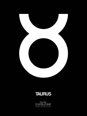 Signed Digital Art - Taurus Zodiac Sign White by Naxart Studio