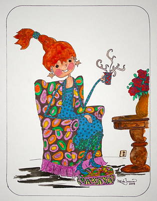 Drawing - Tea Time by Mary Kay De Jesus