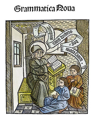 Schoolboy Painting - Teacher And Students, 1491 by Granger
