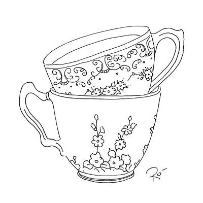 Stainless Steel Frame Drawing - Teacup Sweethearts by Roisin O Farrell