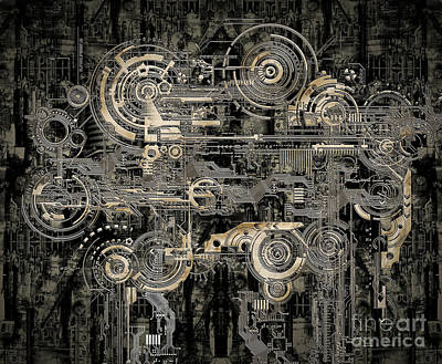 Technically Electronic Background Art Print