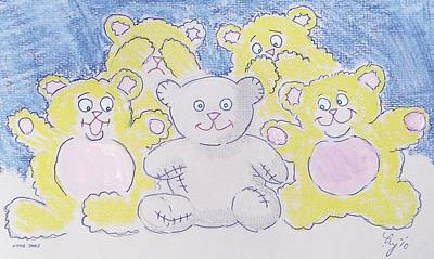 Drawing - Teddy Bear Cartoon by Mike Jory
