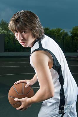 Teenager With Basketball Art Print