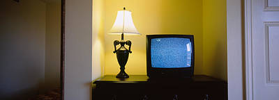 Television And Lamp In A Hotel Room Art Print by Panoramic Images