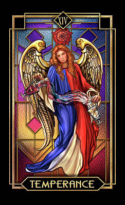 Tarot Wall Art - Drawing - Temperance by MGL Meiklejohn Graphics Licensing