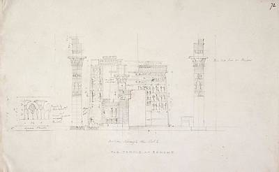 Religious Drawings Photograph - Temple At Esneh In Egypt by British Library