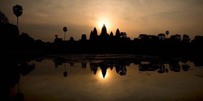 Archaeology Photograph - Temple At The Lakeside, Angkor Wat by Panoramic Images
