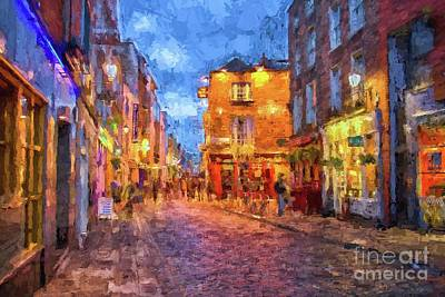 A White Christmas Cityscape - Temple Bar district in Dublin at night by Patricia Hofmeester