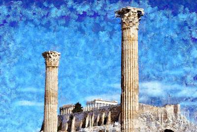 Zeus Painting - Temple Of Olympian Zeus And Acropolis by George Atsametakis