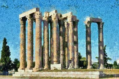 Zeus Painting - Temple Of Olympian Zeus  by George Atsametakis