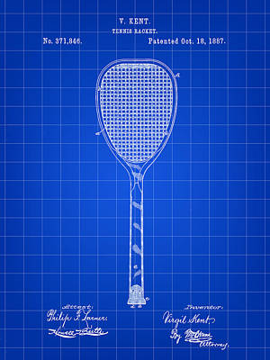 Tennis Racket Patent 1887 - Blue Art Print by Stephen Younts