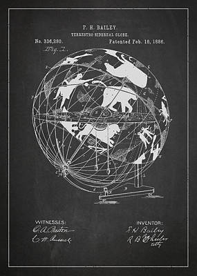 Vintage Map Digital Art - Terrestro Sidereal Globe Patent Drawing From 1886 by Aged Pixel