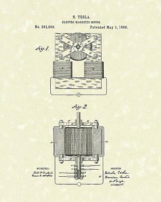 Engine Drawing - Tesla Motor 1888 Patent Art by Prior Art Design