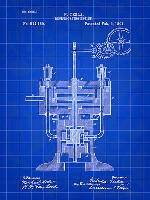 Resistor Digital Art - Tesla Reciprocating Engine Patent 1894 - Blue by Stephen Younts