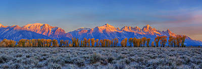 Photograph - Teton Alpenglow Autumn Panorama by Greg Norrell