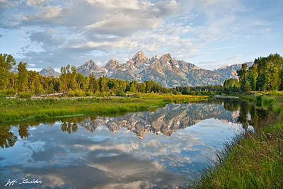 Teton Range Reflected In The Snake River Art Print