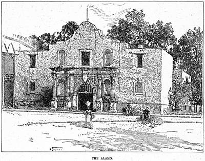 1900 Architecture Painting - Texas Alamo, 1900 by Granger